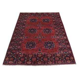 Pure Wool Natural Dyes Afghan Khamyab Hand-knotted Rug (3'2 x 5')