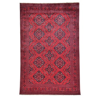 Hand-knotted Afghan Khamyab Vegetable Dyes Oriental Rug (6'3 x 9'8)