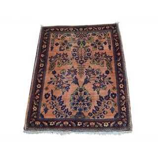 Full Pile Antique Persian Sarouk Hand-knotted Mint Cond Rug (2' x 2'7)