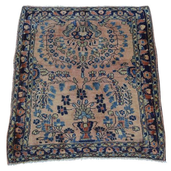 Antique Persian Sarouk Handmade Mint Cond Square Rug (2' x 2'4)
