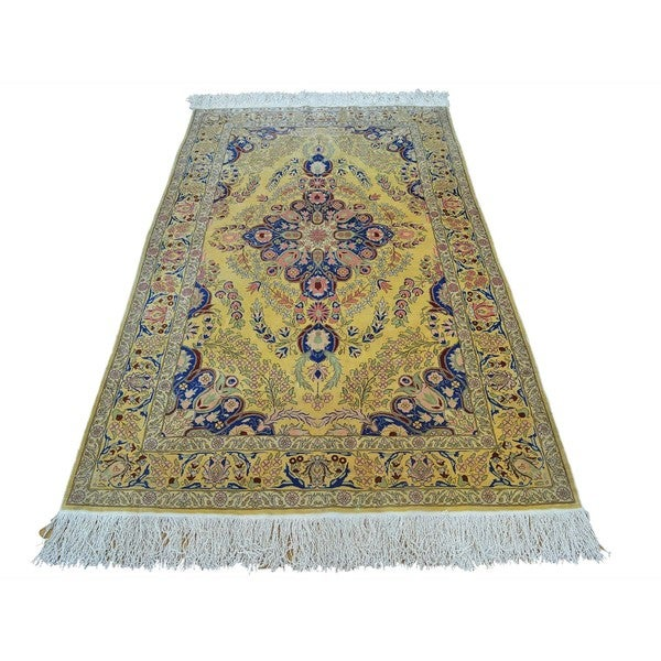 Antique Turkish Silk Rug: Shop Vintage Turkish Pure Silk Hereke 600 KPSI Hand