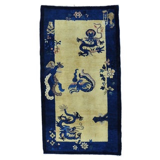 Antique Chinese Peking Dragon Design Mint Cond Runner Rug (3'1 x 5'10)