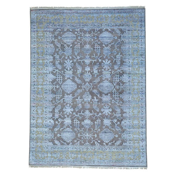 Hand-knotted Modern Sari Silk with Oxidized Wool Rug - 8'10 x 12'