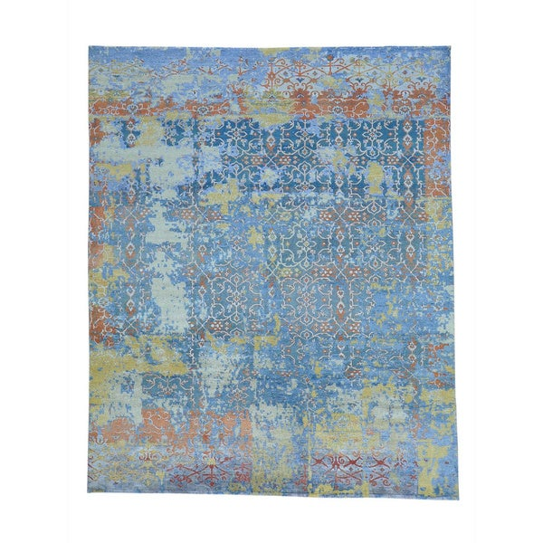 """Modern Broken Design Viscose from Bamboo with Oxidized Wool Rug (8' x 9'9) - 8'0"""" x 9'9"""""""