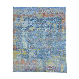 Modern Broken Design Viscose from Bamboo with Oxidized Wool Rug (8' x 9'9)