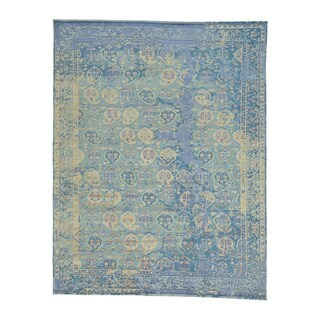 Paisley Design Viscose from Bamboo Oxidized Wool Hand-knotted Rug (7'8 x 10')
