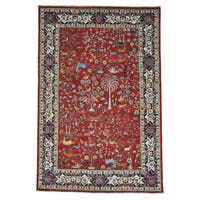 "Tree Of Life Design Hand-knotted Pure Wool Oriental Rug - 6'3"" x 9'5"""