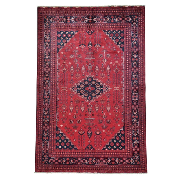 "Hand-knotted Afghan Khamyab Vegetable Dyes Oriental Rug - 6'5"" x 9'9"""