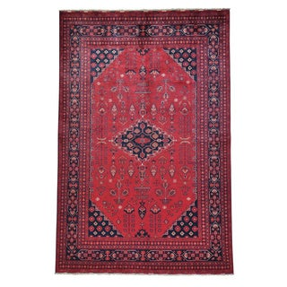 Hand-knotted Afghan Khamyab Vegetable Dyes Oriental Rug (6'5 x 9'9)