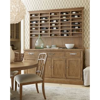 Moderne Muse Sideboard with Sommelier's Hutch in Bisque Finish