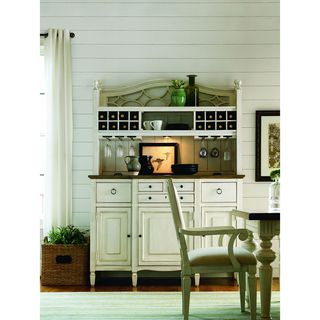 Summer Hill Buffet with Bar Hutch in Cotton Finish