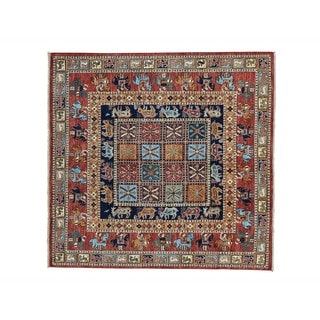 Antiqued Pazyryk Historical Design Square Hand-knotted Rug (5'7 x 5'9)