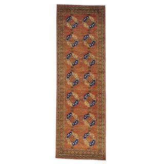 Afghan Ersari Handmade Elephant Feet Wide Runner Rug (4'1 x 12'7)