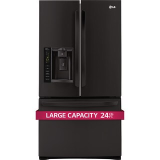 LG LFX25974SB Ultra-Large Capacity 3 Door French Door Refrigerator with Smart Cooling in Black