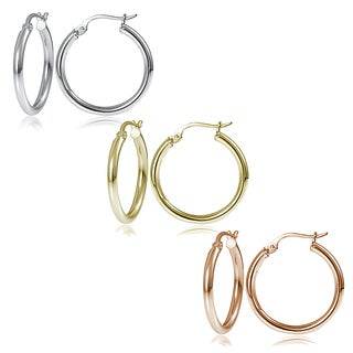 Mondevio Silver 2mm High Polished Round Hoop Earrings (Set of 3)