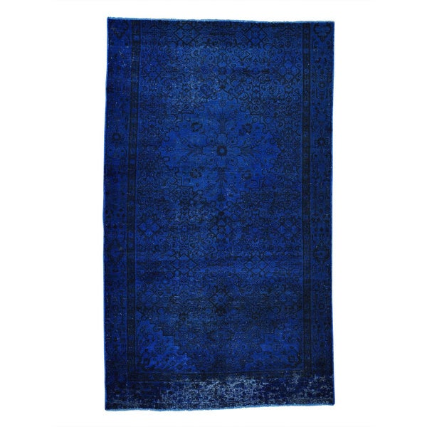 """Semi Antique Overdyed Persian Fragment Hand-knotted Rug (5'2 x 8'8) - 5'2"""" x 8'8"""""""