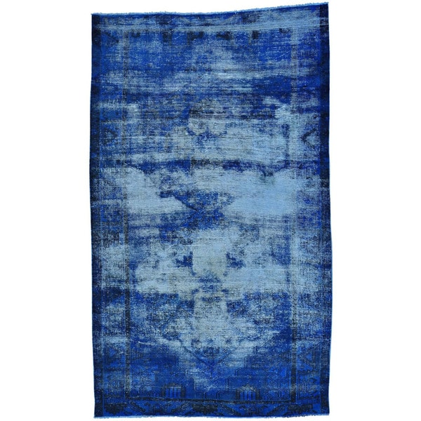 """Worn Down Hand-knotted Overdyed Persian Hamadan Rug - 5'5"""" x 9'3"""""""