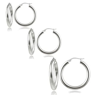 Mondevio Silver 3mm High Polished Round Hoop Earrings (Set of 3)