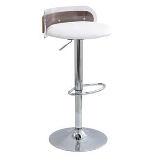 LumiSource Arc Contemporary Acrylic and Walnut Wood Adjustable Barstool