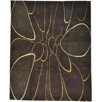 """Modern Wool and Silk Chocolate Brown Hand-knotted Rug (8'1 x 10') - 8'1"""" x 10'0"""""""