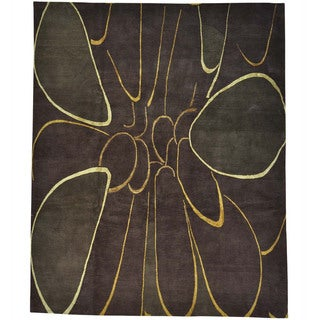 "Modern Wool and Silk Chocolate Brown Hand-knotted Rug (8'1 x 10') - 8'1"" x 10'0"""
