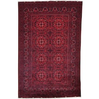 "Pure Wool Natural Dyes Afghan Khamyab Hand-knotted Rug - 5'3"" x 8'0"""