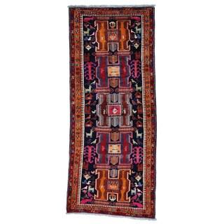 Persian Afshar Wide Pure Wool Handmade Runner Rug (4'6 x 10'9)