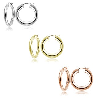 Mondevio Silver 4mm High Polished Round Hoop Earrings (Set of 3)