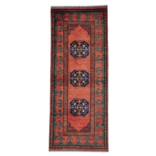 Afghan Ersari with Khotan Design Gallery Size Handmade Rug (4' x 9'8)