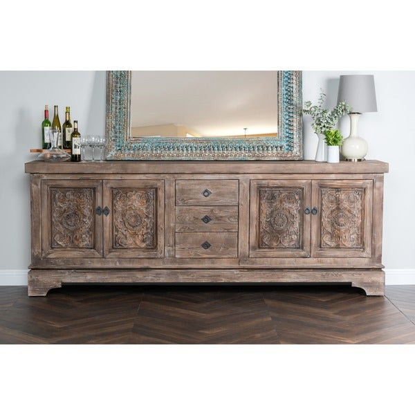 Allen Rustic Taupe Reclaimed Pine 106 Inch Sideboard By