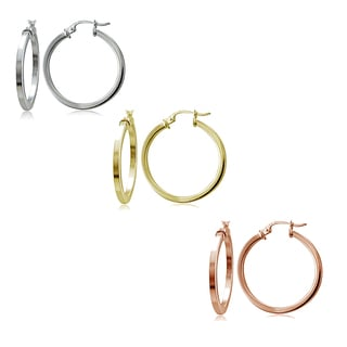 Mondevio Silver 2mm High Polished Square Hoop Earrings, Set of 3