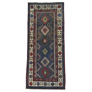 Antique Caucasian Talesh Exc Cond Wide Handmade Runner Rug (4' x 9')