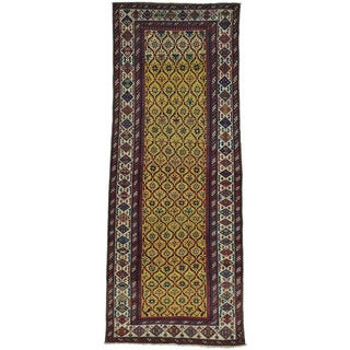 Antique Caucasian Dagestan Vegetable Dyes Wide Runner Rug (4' x 9'10)