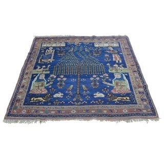 Antique Pictorial Persian Afshar Hand-knotted Square Rug (4'4 x 4'9)