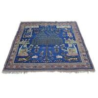 """Antique Pictorial Persian Afshar Hand-knotted Square Rug (4'4 x 4'9) - 4'4"""" x 4'9"""""""