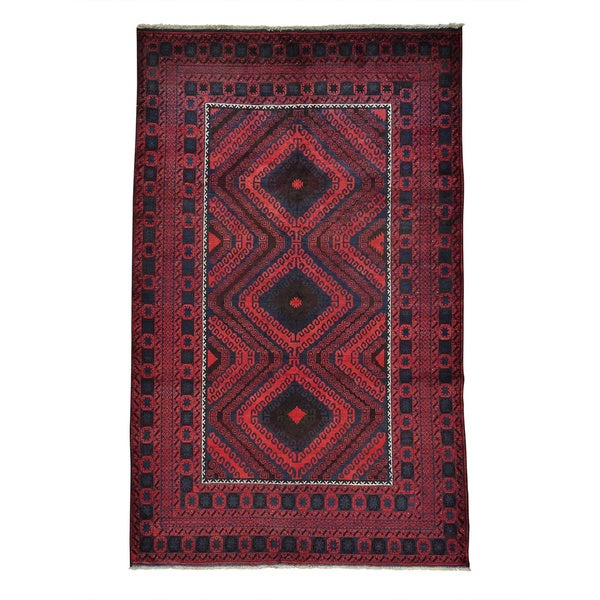 """Afghan Baluch Vegetable Dyes Hand-knotted Oriental Rug (5'5 x 8'7) - 5'5"""" x 8'7"""""""