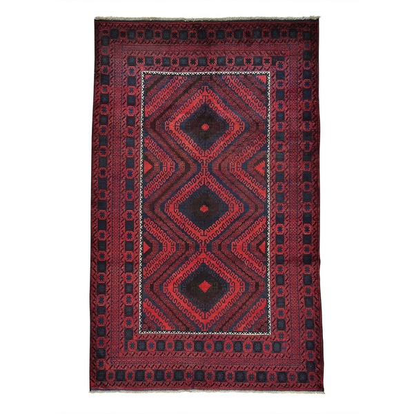 Afghan Baluch Vegetable Dyes Hand-knotted Oriental Rug (5'5 x 8'7)