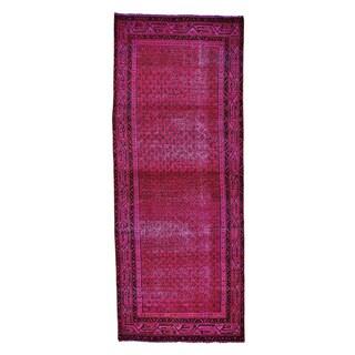 Persian Sarouk Mir Handmade Wide Overdyed Runner Rug (4' x 10')
