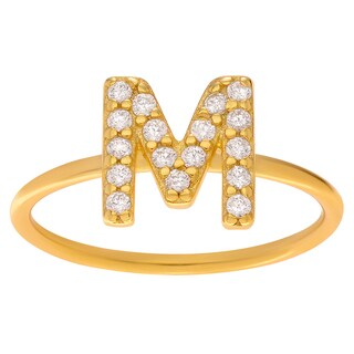 Journee Collection Goldtone Sterling Silver Cubic Zirconia Initial Ring