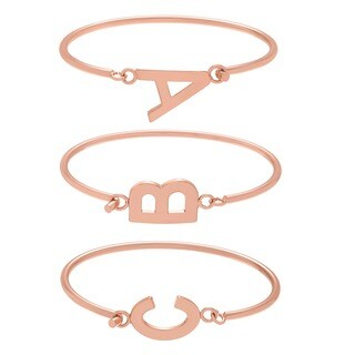 Journee Collection Rose Goldtone Initial Bangle Bracelet