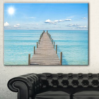 Designart 'Pier Infinite to the Sea' Seascape Photo Canvas Print