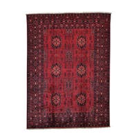 Pure Wool Vegetable Dyes Afghan Khamyab Hand-knotted Rug (4'10 x 6'7)
