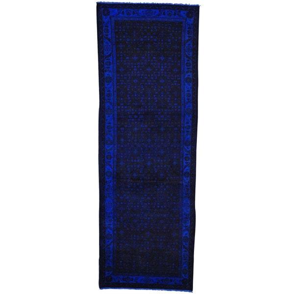 Runner Semi Antique Persian Malayer Handmade Overdyed Rug (3'5 x 10')