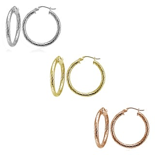 Mondevio Silver 2.5mm Diamond-Cut Round Hoop Earrings (Set of 3)