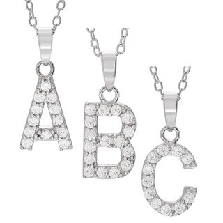Journee Collection Sterling Silver Cubic Zirconia Initial Pendant