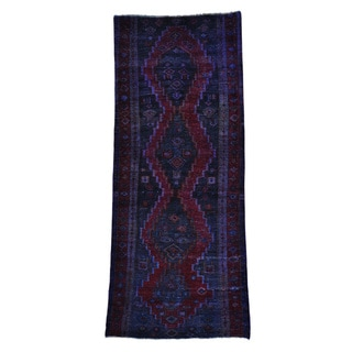 Semi Antique Persian Hamadan Overdyed Wide Runner Rug (4'1 x 10')
