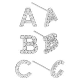 Journee Collection Sterling Silver Cubic Zirconia Initial Stud Earrings