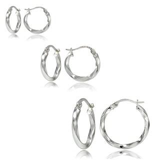 Mondevio Silver 2mm Twist Round Hoop Earrings, Set of 3