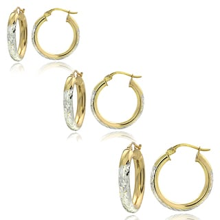 Mondevio Two-Tone 3mm Diamond-Cut Round Hoop Earrings (Set of 3)