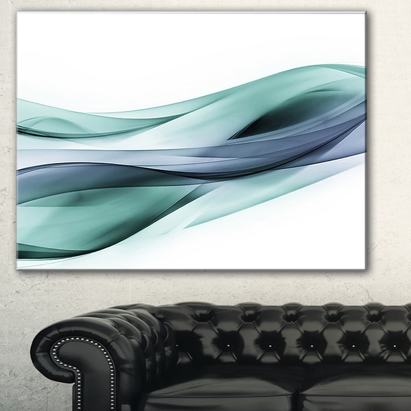 Designart 'Fractal Lines Grey Blue' Abstract Digital Art Canvas Print